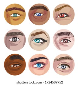 Human Eyes of Various Colors in Circles Collection, Part of Male or Female Faces Part Vector Illustration