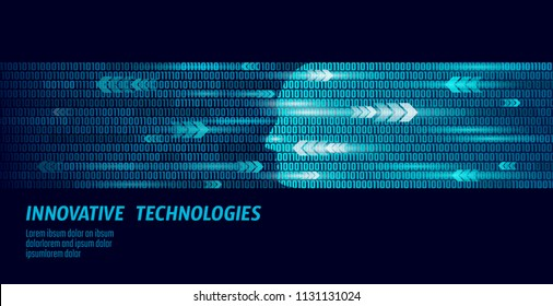 Human face artificial intelligence next level men's mental abilities. Big data binary numbers code flow. Technology augmented reality hacker head profile cyborg blue glowing vector illustration