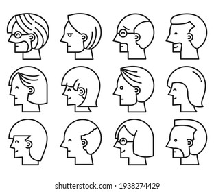 human face icons set side  view