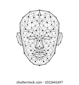 Human face low polygon. Wireframe mash head shape consisting of connected dots and lines isolated on white background. Abstract human vector illustration