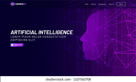Human face made with mesh network and binary digit for Artificial Intelligence (AI) landing page concept.