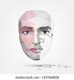 Сrumbling human face, mask, artificial face