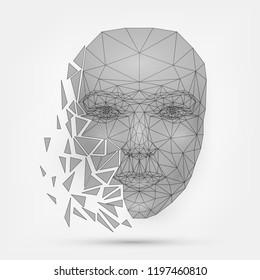 Сrumbling human face, mask, technology