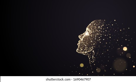 Human face on a black background of gold glowing particles