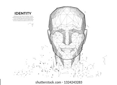 Human face, polygonal mesh. Face Recognition. Facial Recognition System concept. biometric identity, 3D scanning. Face ID. Polygon vector wireframe concept. - Vector