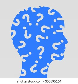 Human face with question marks. Vector illustration