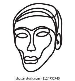 Human face sketched with a single line - black on white