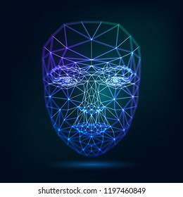 Human face, triangular glowing grid, technology