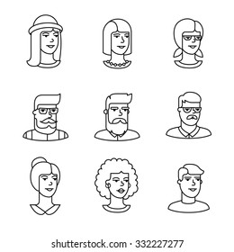 Human faces icons thin line art set. Hipster characters. Black vector symbols isolated on white.