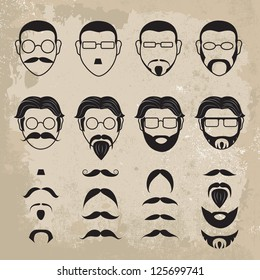 Human Faces With Various Additions Set - Isolated On Brown Background - Vector Illustration, Graphic Design Editable For Your Design