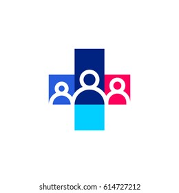 Human family and cross. Medicine and health care logo mark template or icon