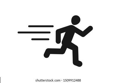 Human faster run or human speedy run icon vector