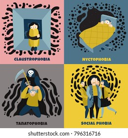 Human fears concept icons set with social phobia symbols flat isolated vector illustration
