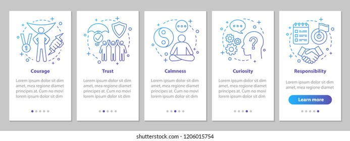 Human feelings onboarding mobile app page screen with linear concepts. Emotions steps graphic instructions. UX, UI, GUI vector template with illustrations