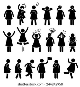 Human Female Girl Woman Action Poses Postures Stick Figure Pictogram Icons