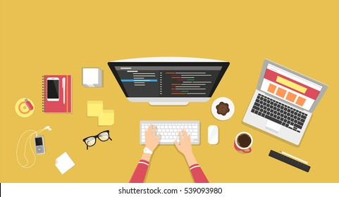 Human female hands typing on the computer keyboard and programming using laptop. Business desktop illustration on yellow background with smartphone, stationery and office elements