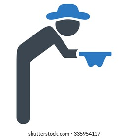 Human Figure Beggar vector icon. Style is bicolor flat symbol, smooth blue colors, rounded angles, white background.