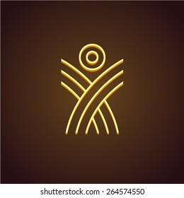 Human figure linear logo template. Monoline rising up concept. Plant shoots with sun.