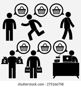 human figure and  shopping icon in bubble talk message