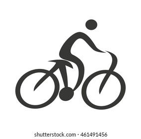 human figure silhouette bicycle icon vector isolated graphic