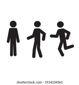 human figure sketch in motion stands, walks, runs isolated on a white background