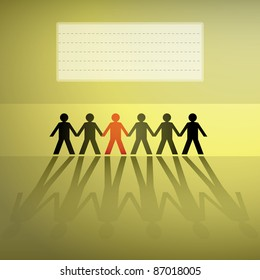 human figures in a row, background - illustration