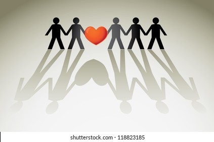 human figures in a row holding red heart - illustration