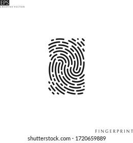 Human fingerprint. Logo. Isolated fingerprint on white background. Vector illustration
