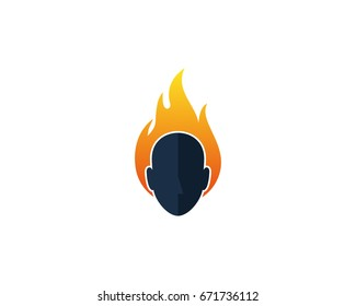 Human Fire Head Icon Logo Design Element
