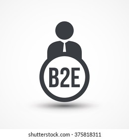 Human flat icon with word B2E business to employee