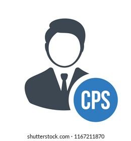 Human flat icon with word CPS cost per sale