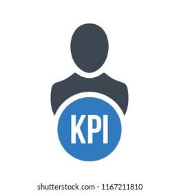 Human flat icon with word KPI Key Performance Indicator