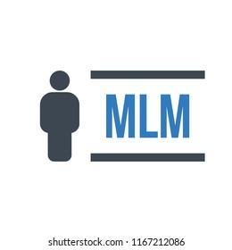 Human flat icon with word MLM Multi Level Marketing