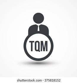Human flat icon with word TQM total quality management
