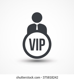 Human flat icon with word VIP very important person