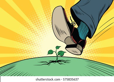 The human foot comes to green sprout, ecology and nature