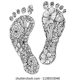 Human footprint in doodle style.  Coloring book page. Footstep with different little flowers in zentangle style.  Black and white foot. Vector. Doodle, barefoot.