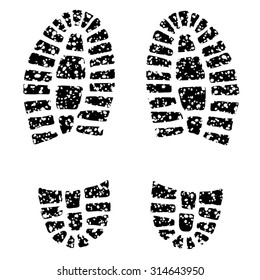 Human footprint on granular ground. Elements for various graphic compositions, although these can be used alone  also.