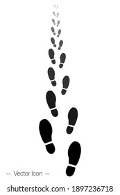 Human footprint walking away. Foot pattern icon. Perspective footpath. Isolated vector illustration picogram.