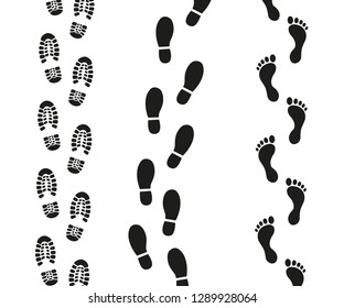 Human footprints icon set.