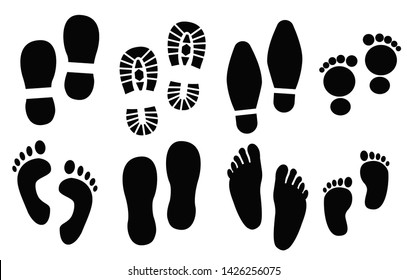 Human footprints set, vector illustration. Adult and baby shoes, barefoot stickers