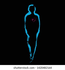 Human form. Brush sketch. Soul, spirit. Heart  inside. Psychological and philosophical illustration. Hand drawing figure. Background design. Blue line.