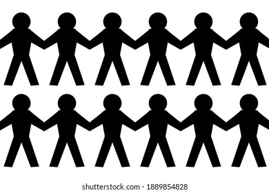 Human fraternity. Paper men in unity circle on a white background. Editable vector.