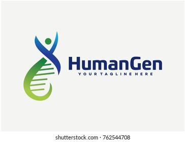 Human Gen Logo Template Design. Creative Vector Emblem for Icon or Design Concept