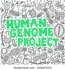 Human genom project. Lettering with doodle illustration