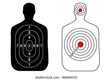 Human gun target on white background. Silhouette of a man. Target shooting, vector, set.