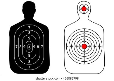Human gun target shooting on white background sport vector