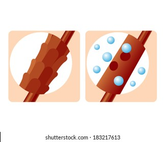 Human hair structure treatment close up illustration