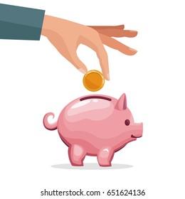human hand depositing coin in a money piggy bank