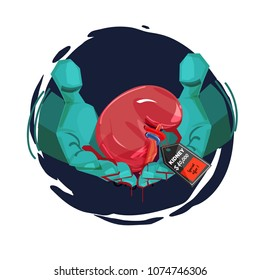 Human hand with doctor glove giving a kidney with price tag. Organ Trafficking for money concept - vector illustration